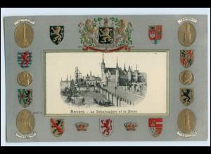 W3S88/ Anvers Belgien Wappen Litho Prägedr. AK ca.1905