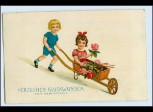 W4Q89/ Geburtstag Mädchen und Junge 1931 Litho AK