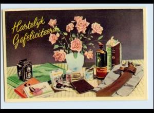 W3S51/ Stilleben Geburtstagstisch Kamera Krawatte Pfeife usw. ca.1955