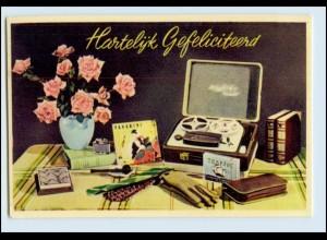 W3S52/ Stilleben Geburtstagstisch Tonbandgerät Krawatten Blumen usw. ca.1955
