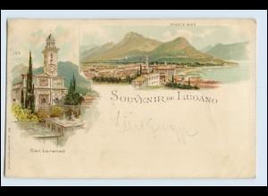 W3S46/ Souvenir de Lugano Litho AK 1898