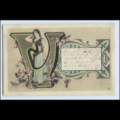 """W4W39/ Buchstaben Foto AK """"V"""" Jugendstil 1905"""