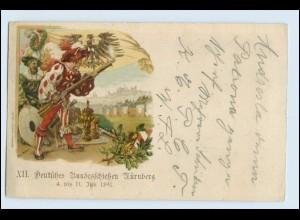 W3U56/ Nürnberg XII. Dt. Bundesschießen Privatganzsache Litho AK 1897 + SST