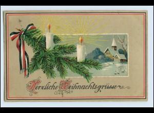 W3W31/ Weihnachten Patriotik Litho Prägedr. AK 1917 Kerzen Tannenzweig