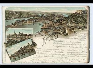 W3U38/ Gruß aus Passau Litho AK 1898