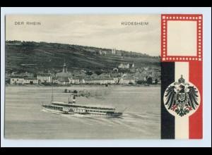 W5L07/ Rüdesheim Patriotik Wappen AK 1911 Rheindampfer