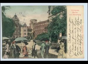 W3V18/ Heidelberg verregnete Grüße AK 1906