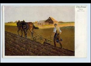 W4W01/ Landwirtschaft Pferdepflug Bauer Künstler AK Otto Peter 1918