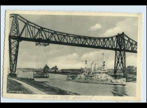 W3X48/ Rendsburg Brücke Schwebefähre Kriegsschiff AK 1941