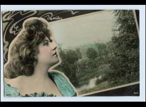 W4V76/ E. de Mandes hübsche Frau Fotomontage AK 1906 Foto