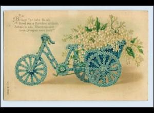 W5N18/ Fahrrad aus Blumen schöne Litho Prägedruck AK Spruch 1908
