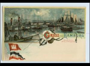 W5A87/ Gruß aus Hamburg Litho AK Hafen ca.1898