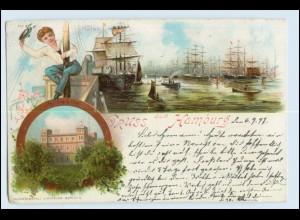 W5A86/ Gruß aus Hamburg Litho AK 1897 Hafen