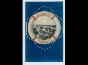 N6142/ Gruß aus Hamburg Niederhafen Rettungsring AK ca.1900