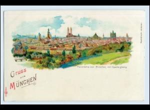 W5C96/ Gruß aus München schöne Litho AK ca.1900