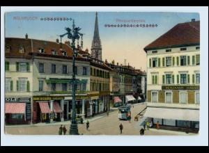 W5F89/ Mülhausen Elsaß Neuquartierplatz mit Straßenbahn AK 1916