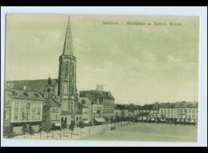 W5F52/ Saarlouis Marktplatz und Kirche AK ca.1912