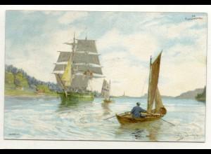 W5J68/ Fra Kristianiafjorden Norwegen Künstler Litho Ak ca.1900