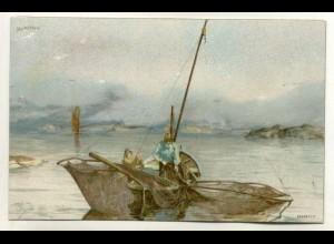 W5J71/ Mortefiskere Norwegen Künstler Litho Ak ca.1900 Fischer