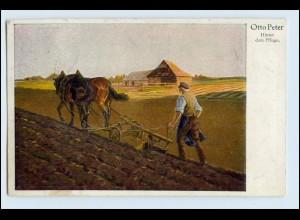 W5H57/ Landwirtschaft Pferdepflug Bauer Künstler AK Otto Peter 1927