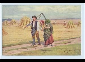 W5H55/ Landwirtschaft Heuernte Bauer mit Sense AK 1917
