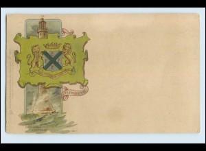 A1052/ Plymouth Wappen Litho Prägedruck AK Leuchtturm ca.1900 Raphael Tuck`s