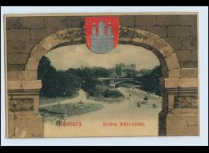 N5930/ Hamburg St. Pauli Kersten-Miles-Brücke Knackstedt & Näther AK Wappen 1905