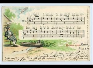 W5N11/ Lieder AK Kommt ein Vogel geflogen... Litho AK 1898