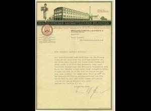 c504/ Briefkopf Rechnung Braunschweig Nährmittelfabrik Brunsviga ca.1938