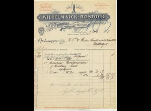 c495/ Rechnung Wilhelm Vick Rostock Riemenfabrik u. Leder 1908
