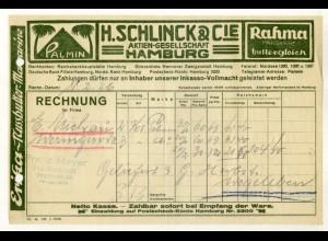 c491/ Rechnung H. Schlinck & Cie Palmin Rahma-Margarine Hamburg 1926