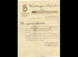 c490/ Briefkopf Rechnung Großkopf Bettfedern Osnabrück 1927