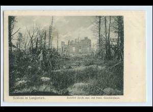 W5Q96/ Schloß in Langemark Belgien zerstört AK 1. Weltkrieg ca.1915