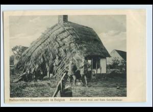 W5Q88/ Halbzerstörtes Bauerngehöft in Belgien 1. Weltkrieg AK Belgien 1915