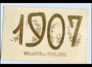 W4R61/ Neujahr Viel Glück im neuen Jahre 1906 Litho Prägedruck AK