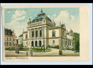 W5U18/ Gruß aus Rendsburg Stadthalle und Brunnen Litho AK ca.1900