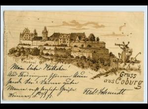 W5T33/ Gruß aus Coburg Holzbrand-Imitations AK 1898 Maikäfer