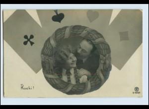 W5U53/ Spielkarten Fotomontage Foto Rotophot AK 1907
