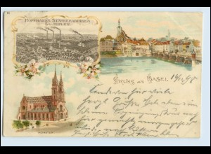 W6E48/ Gruß aus Basel Hoffmann`s Stärkefabriken Litho AK 1898