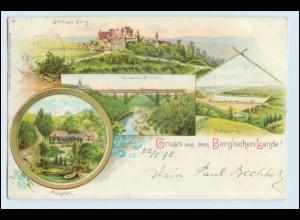 W6H15/ Gruß aus dem Bergischen Lande 1898 Litho AK