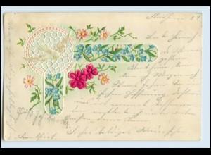 W6C74/ Taube Litho Prägedr. AK zwei Blumen aus Seide 1901