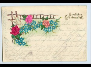 W6C73/ Glückwunsch AK Rosen aus Seide, Litho Prägedruck 1901