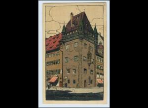 Y11905/ Nürnberg Nassauer Haus Steinzeichnung Litho AK ca.1912