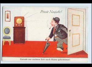 W9X05/ Neujahr betrunkener Mann kommt nach Hause, Radio ca.1930 AK