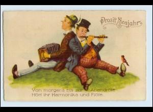 W9X03/ Männer spielen Harmonika und Flöte AK ca.1925
