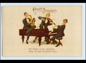 W9X02/ Neujahr Männer musizieren, Saxophon, Geige, Klavier AK ca.1925