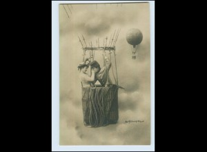 W6T22/ Liebespaar im Ballon Fotomontage Foto AK ca.1900