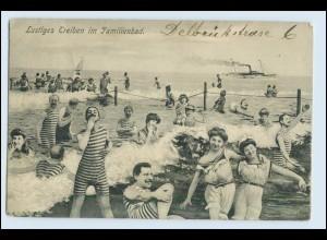 W6T27/ Badeleben Familienbad schöne Fotomontage AK 1905