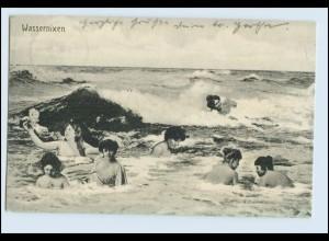 W6T25/ Badeleben Wassernixen schöne Fotomontage AK 1910