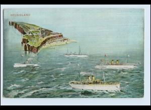 W6T38/ Helgoland Schiffe Fotomontage AK 1908